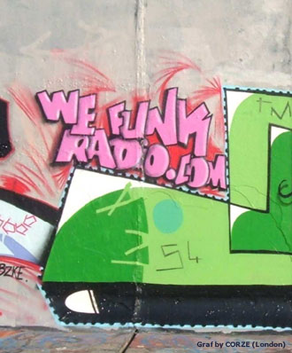 CORZE reppin' WEFUNK Radio on London walls in the UK